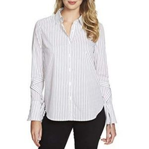 1. State Striped Wrap Sleeve Button Down Shirt - M